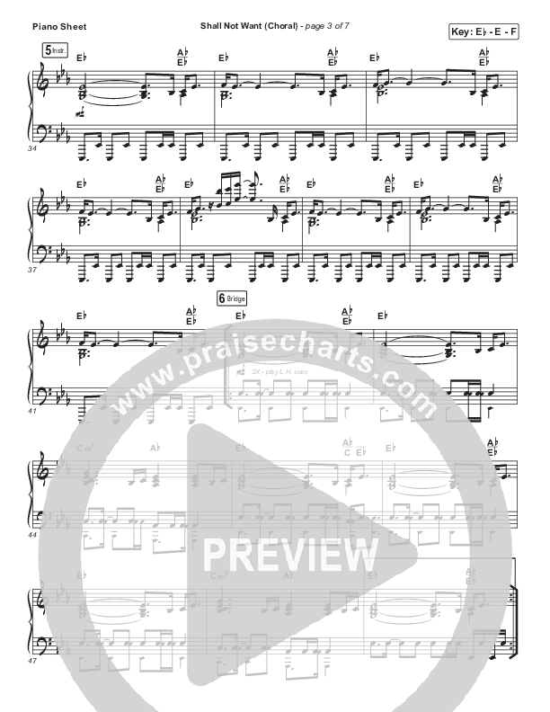 Shall Not Want (Choral) Piano Sheet (PraiseCharts Choral / Maverick City Music / Elevation Worship / Arr. Luke Gambill)