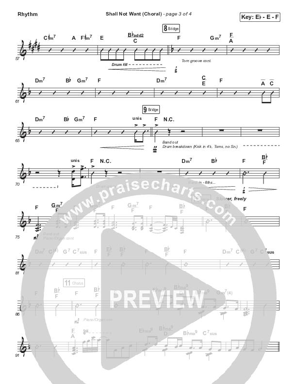 Shall Not Want (Choral) Rhythm Chart (PraiseCharts Choral / Maverick City Music / Elevation Worship / Arr. Luke Gambill)