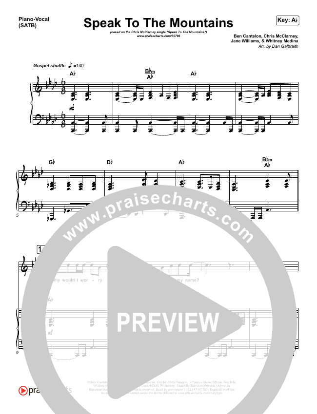 Speak To The Mountains Piano/Vocal (SATB) (Chris McClarney)