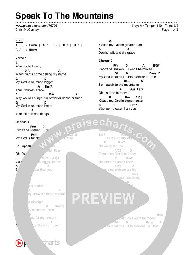 Speak To The Mountains Chords & Lyrics (Chris McClarney)
