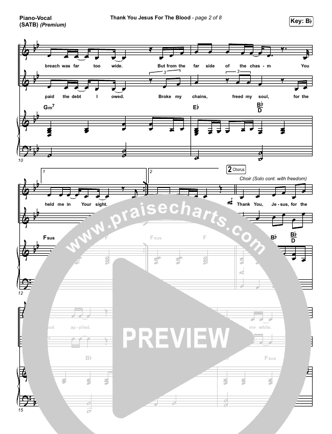 Thank You Jesus For The Blood (Premium) Piano/Vocal (SATB) (Charity Gayle)