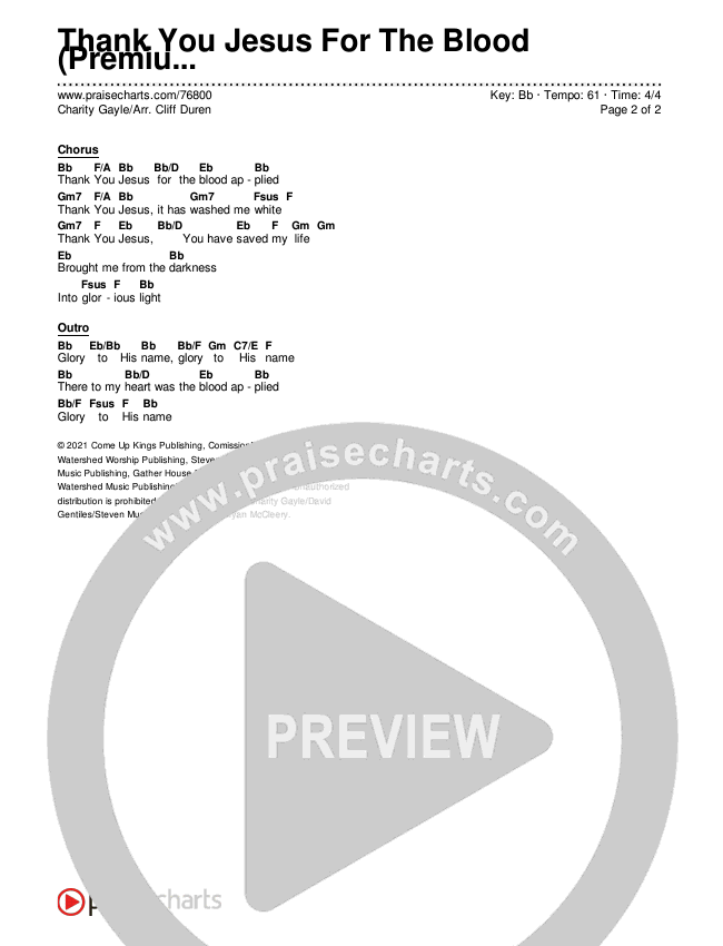 Thank You Jesus For The Blood (Premium) Chords & Lyrics (Charity Gayle / Arr. Cliff Duren)