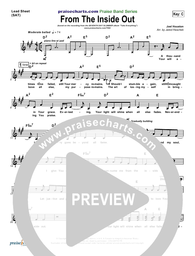 From The Inside Out Lead Sheet (Seventh Day Slumber)