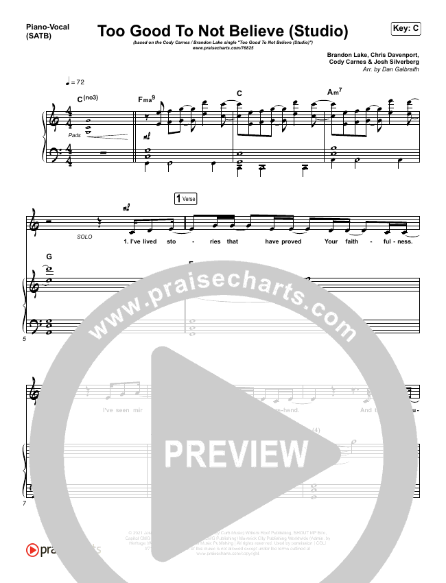 Too Good To Not Believe (Studio) Piano/Vocal (SATB) (Cody Carnes / Brandon Lake)