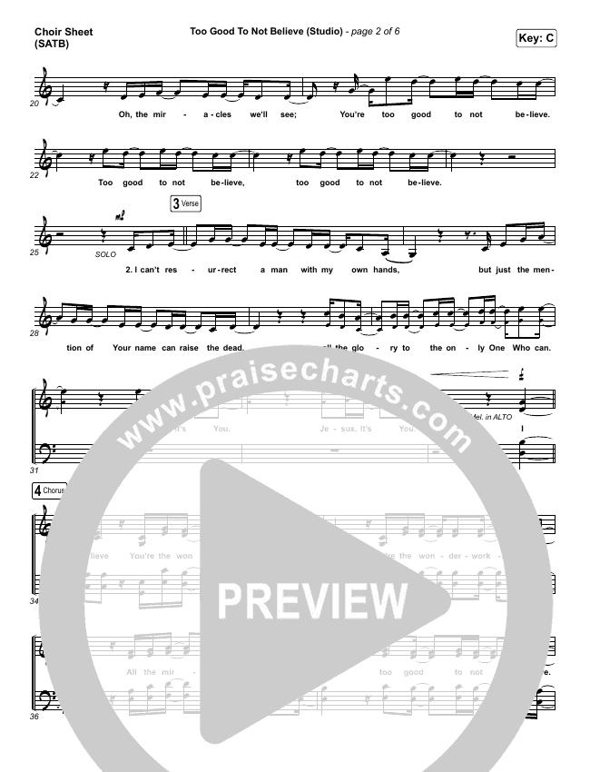 Too Good To Not Believe (Studio) Choir Sheet (SATB) (Cody Carnes / Brandon Lake)