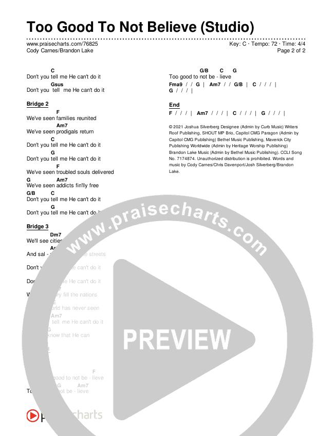 Too Good To Not Believe (Studio) Chords & Lyrics (Cody Carnes / Brandon Lake)