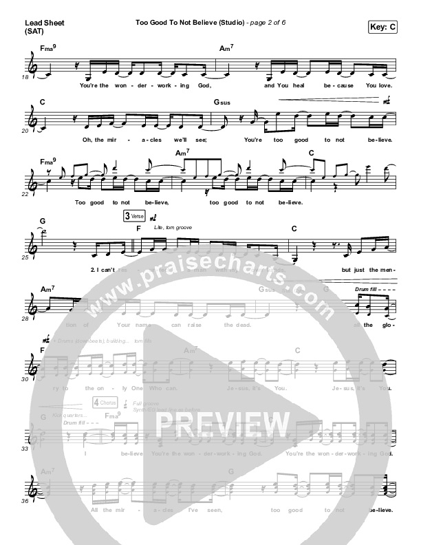 Too Good To Not Believe (Studio) Orchestration (Cody Carnes / Brandon Lake)