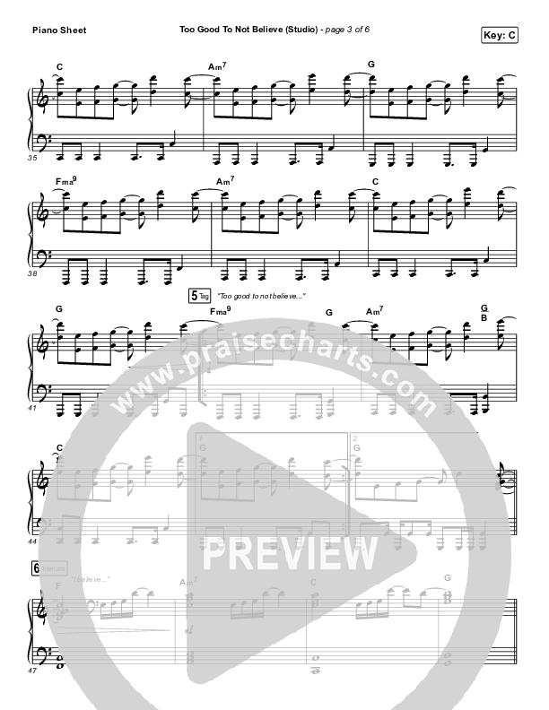 Too Good To Not Believe (Studio) Piano Sheet (Cody Carnes / Brandon Lake)
