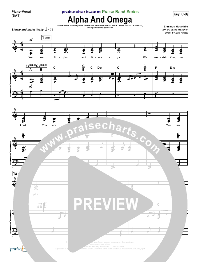 Alpha And Omega Lead Sheet Pianovocal Israel Houghton