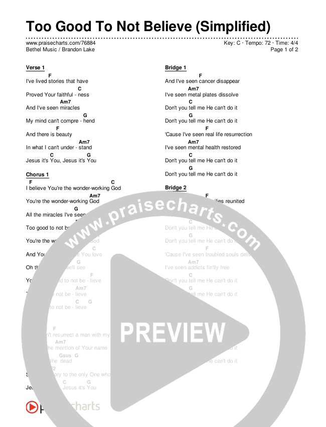 Too Good To Not Believe (Simplified) Chord Chart (Bethel Music / Brandon Lake)