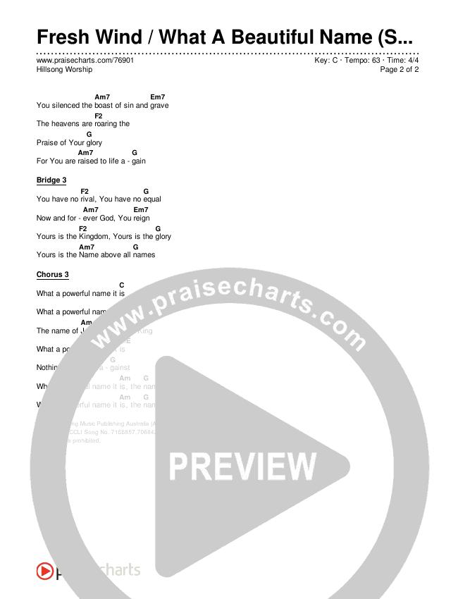 Fresh Wind / What A Beautiful Name (Simplified) Chords & Lyrics (Hillsong Worship)