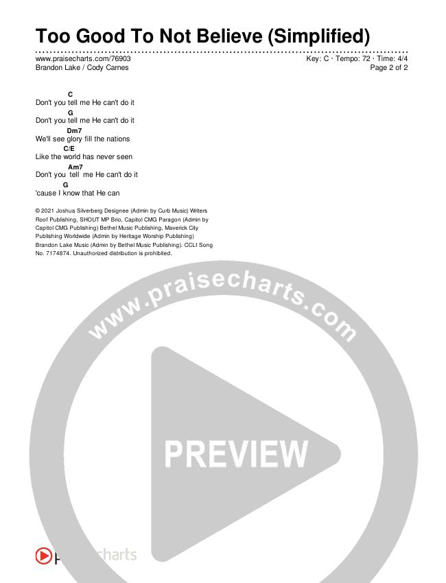 Too Good To Not Believe (Studio) (Simplified) Chords & Lyrics (Brandon Lake / Cody Carnes)