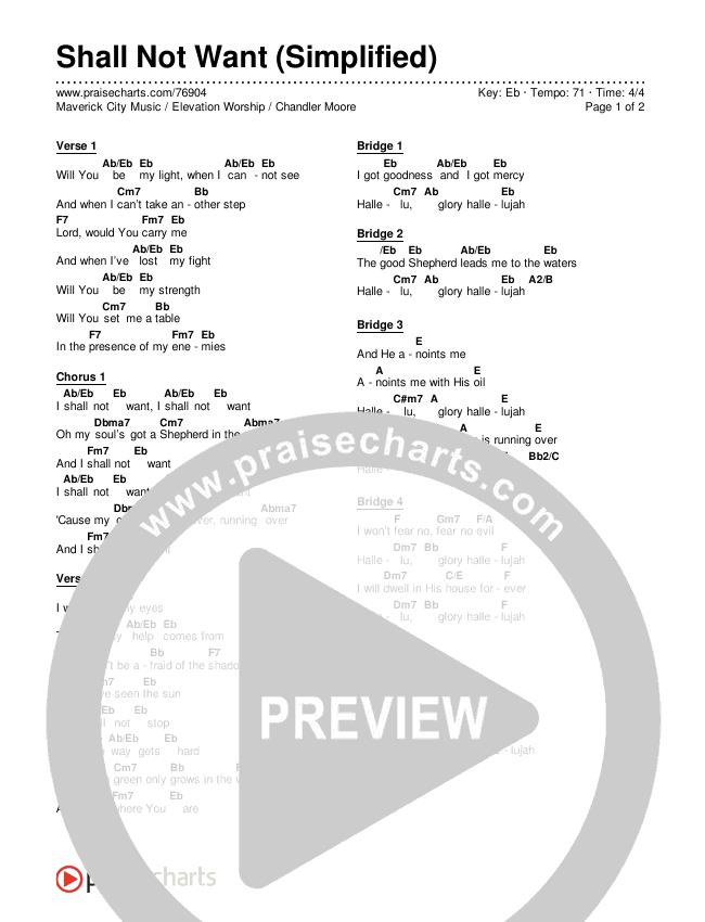 Shall Not Want (Simplified) Chord Chart (Maverick City Music / Elevation Worship / Chandler Moore)