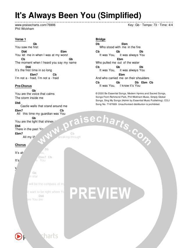 It's Always Been You (Simplified) Chords & Lyrics (Phil Wickham)