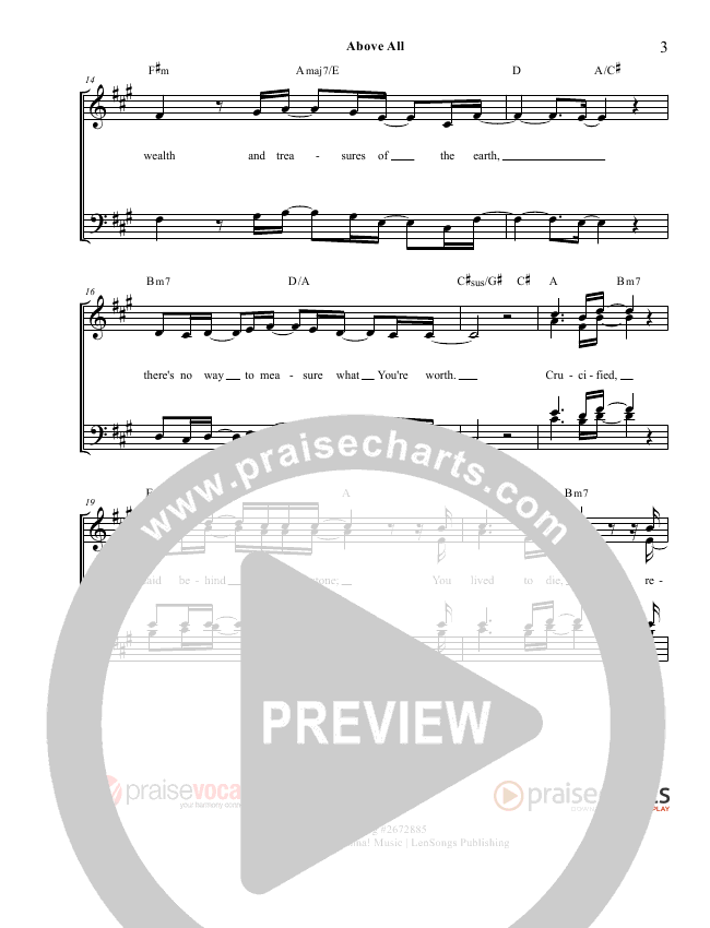Above All Lead Sheet (PraiseVocals)