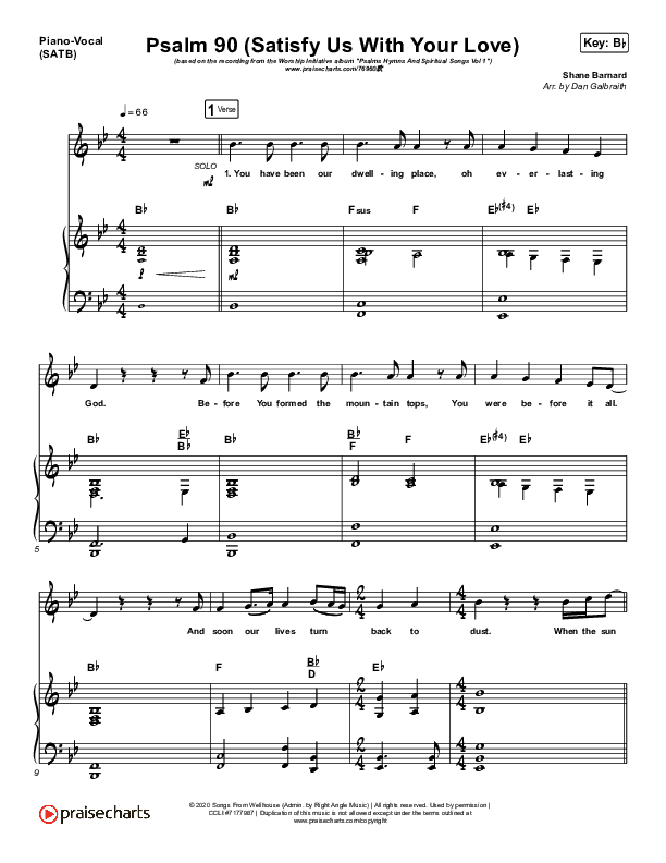 Psalm 90 (Satisfy Us With Your Love) Piano/Vocal (SATB) (The Worship Initiative / Shane & Shane)
