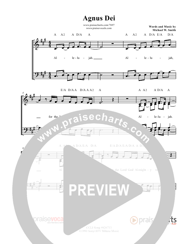 Agnus Dei Lead Sheet (PraiseVocals)