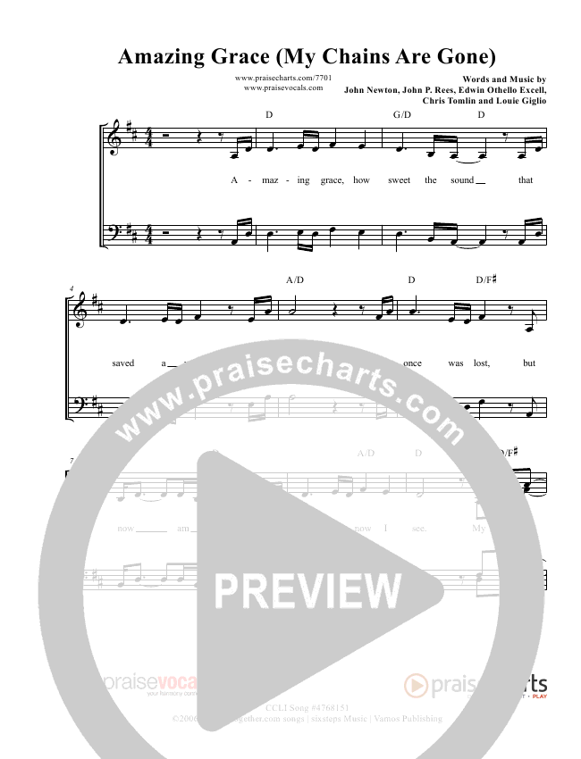 Amazing Grace (My Chains Are Gone) Lead Sheet (PraiseVocals)