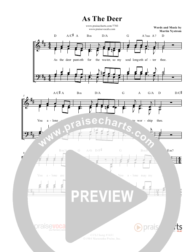 As The Deer Lead Sheet (PraiseVocals)