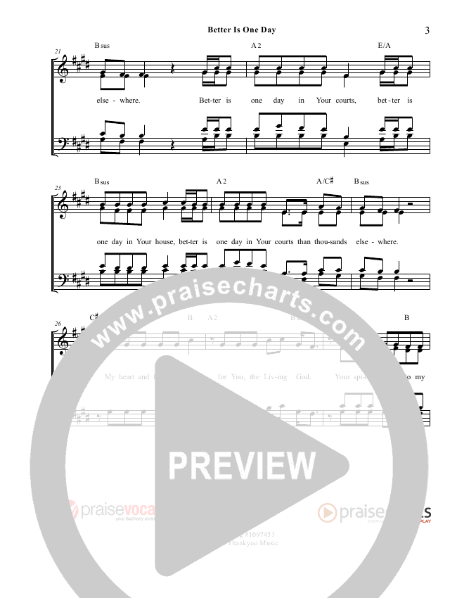 Better Is One Day Lead Sheet (PraiseVocals)