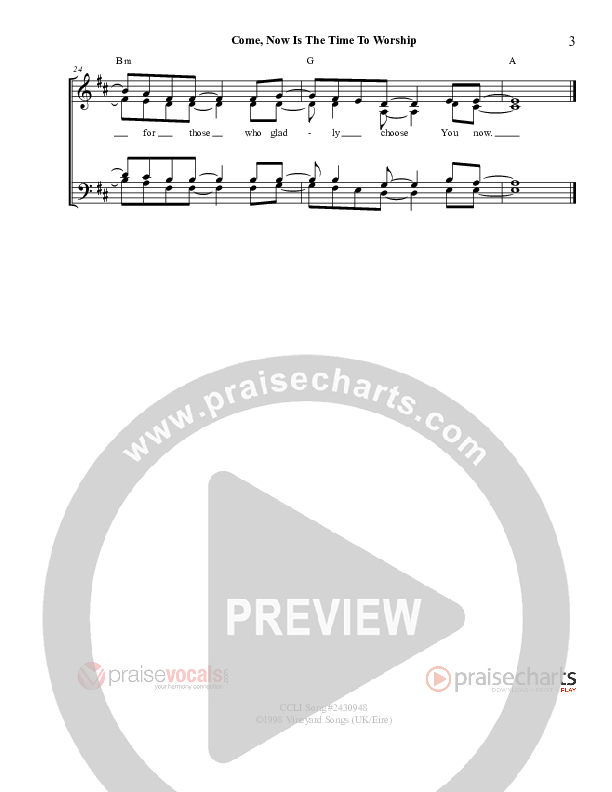 Come Now Is The Time to Worship Lead Sheet (PraiseVocals)