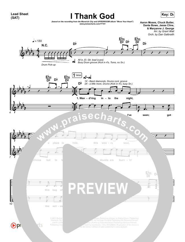 I Thank God Orchestration (with Vocals) (Maverick City Music / Dante Bowe / Aaron Moses / Maryanne J. George / Chuck Butler)