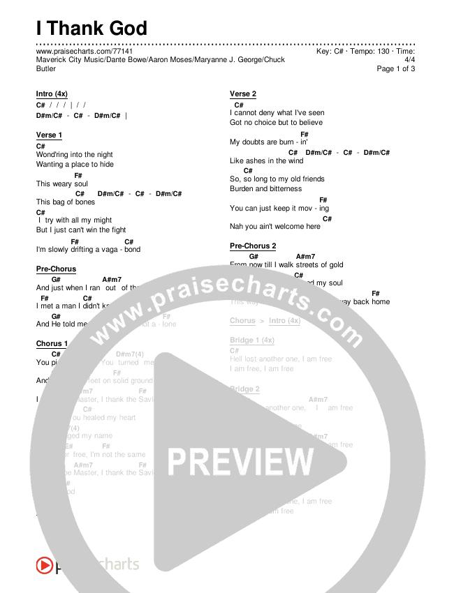 I Thank God Chords & Lyrics (Maverick City Music / Dante Bowe / Aaron Moses / Maryanne J. George / Chuck Butler)