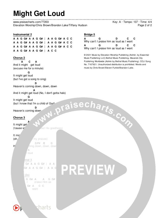 Might Get Loud Chords & Lyrics (Elevation Worship / Chris Brown / Brandon Lake / Tiffany Hudson)