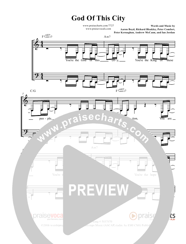 God Of This City Lead Sheet (PraiseVocals)