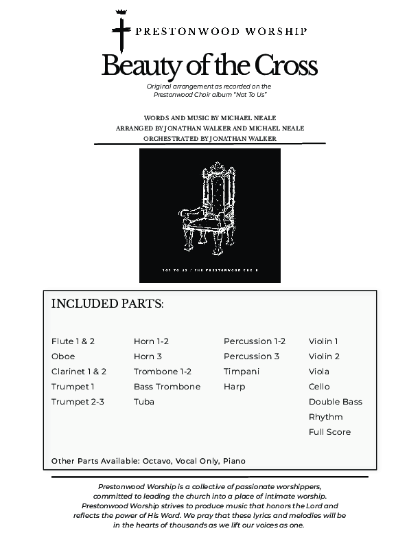 Beauty Of The Cross (Choral Anthem) Orchestration (No Vocals) (Prestonwood Choir / Arr. Jonathan Walker)
