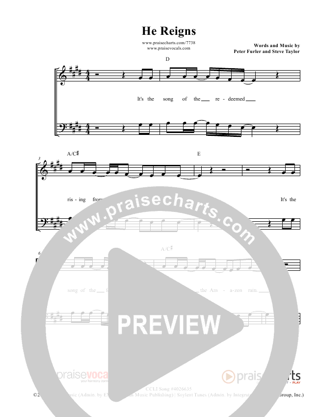 He Reigns Lead Sheet (PraiseVocals)