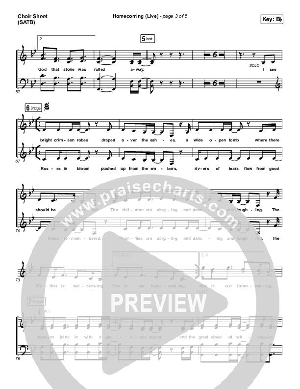 Homecoming (Live) Choir Sheet (SATB) (Bethel Music / Cory Asbury / Gable Price)