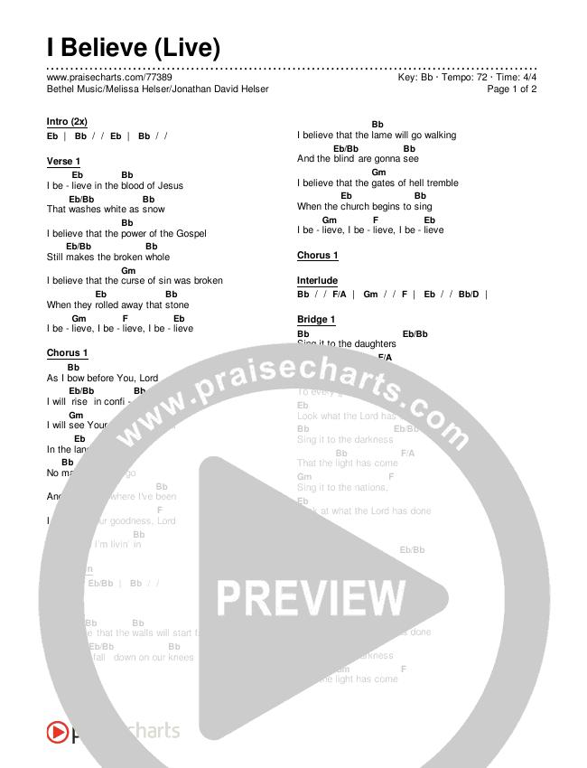 I Believe (Live) Chords & Lyrics (Bethel Music / Melissa Helser / Jonathan David Helser)