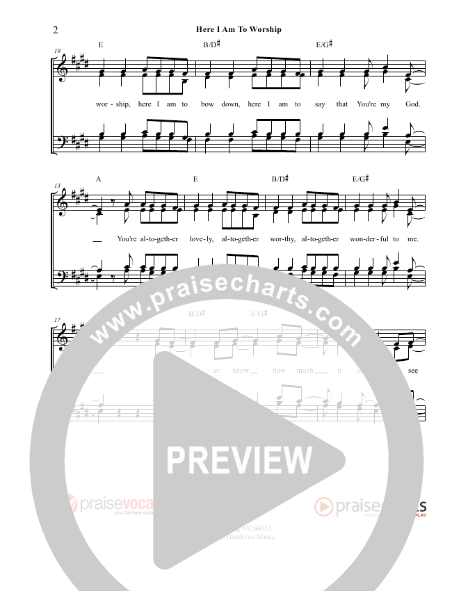 Here I Am To Worship Lead Sheet (PraiseVocals)