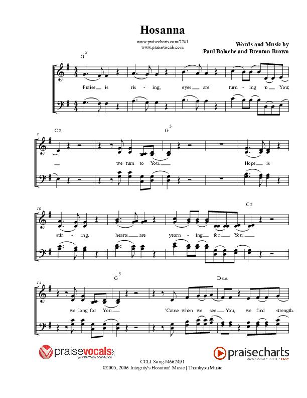 Hosanna (Praise Is Rising) Lead Sheet (PraiseVocals)