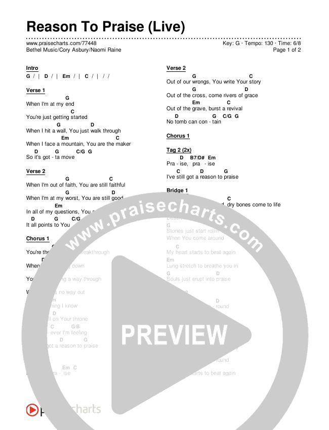 Reason To Praise (Live) Chords & Lyrics (Bethel Music / Cory Asbury / Naomi Raine)