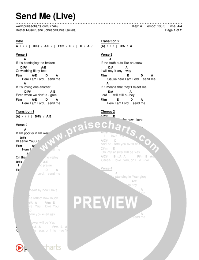 Send Me (Live) Chords & Lyrics (Bethel Music / Jenn Johnson / Chris Quilala)