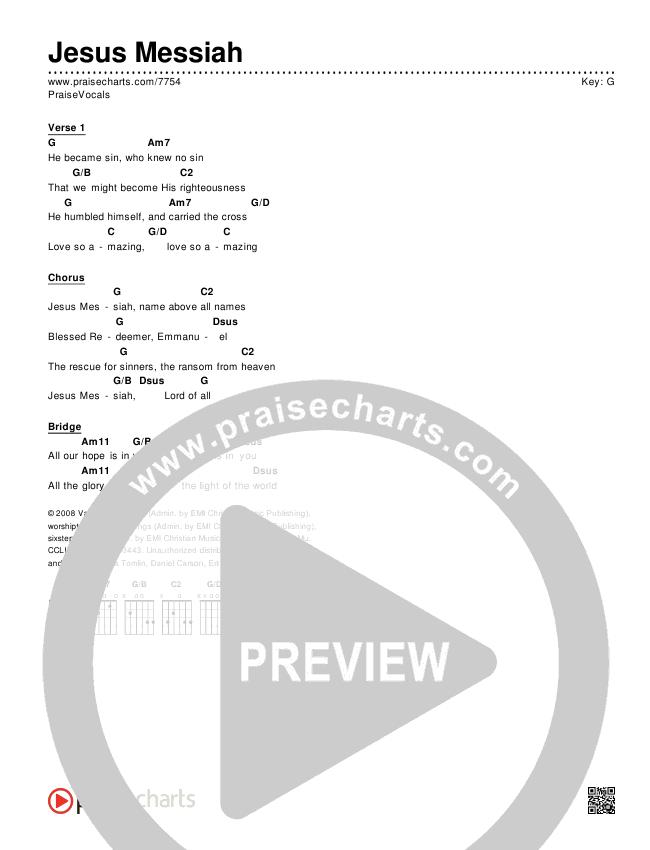 Jesus Messiah Chords & Lyrics (PraiseVocals)
