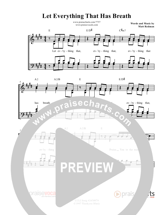 Let Everything That Has Breath Lead Sheet (PraiseVocals)