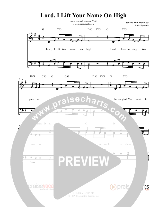 Lord I Lift Your Name On High Lead Sheet (PraiseVocals)
