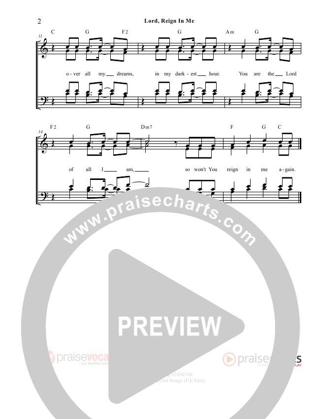 Lord Reign In Me Lead Sheet (PraiseVocals)