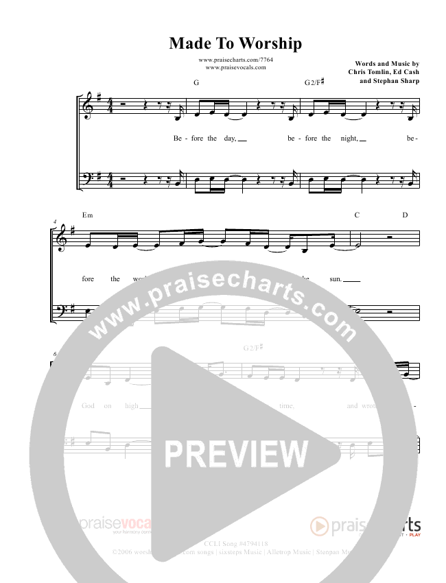 Made To Worship Lead Sheet (PraiseVocals)