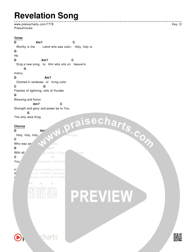 Revelation Song Chords & Lyrics (PraiseVocals)