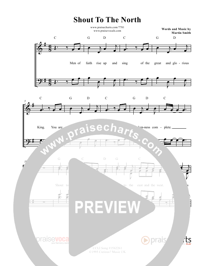 Shout To The North Lead Sheet (PraiseVocals)