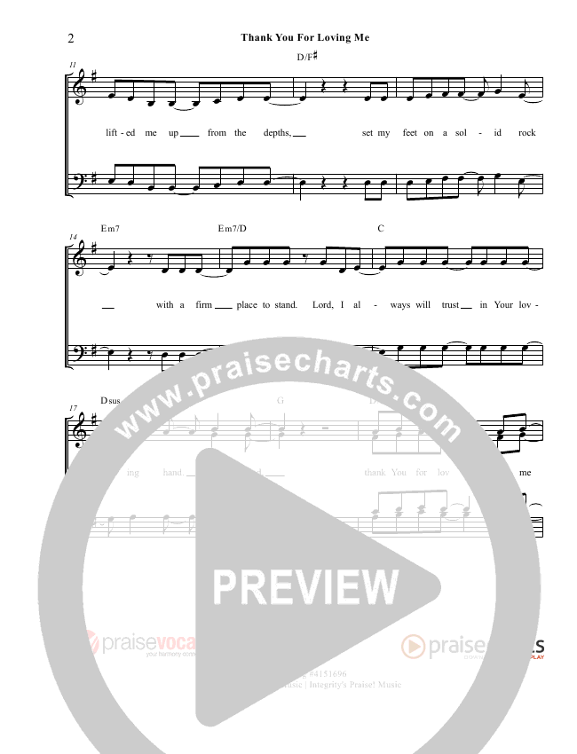 Thank You for Loving Me Lead Sheet (PraiseVocals)