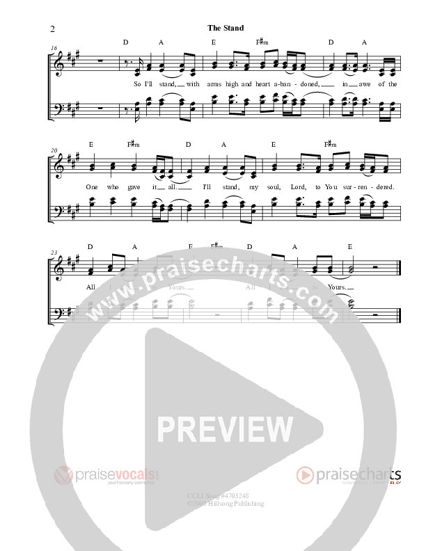 The Stand Lead Sheet (PraiseVocals)