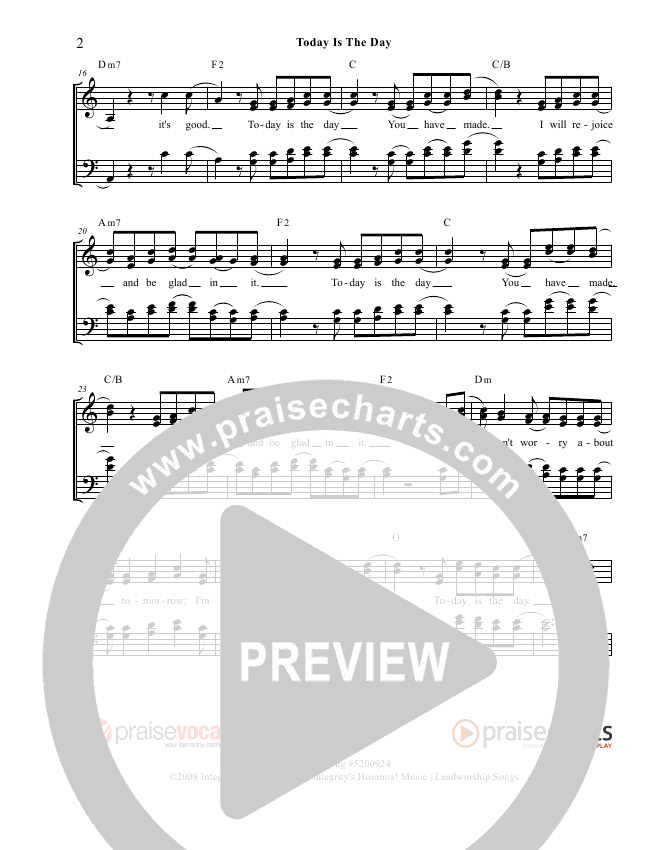 Today Is The Day Lead Sheet (PraiseVocals)