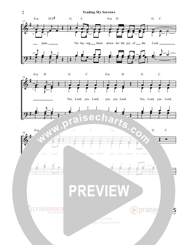 Trading My Sorrows Lead Sheet (PraiseVocals)