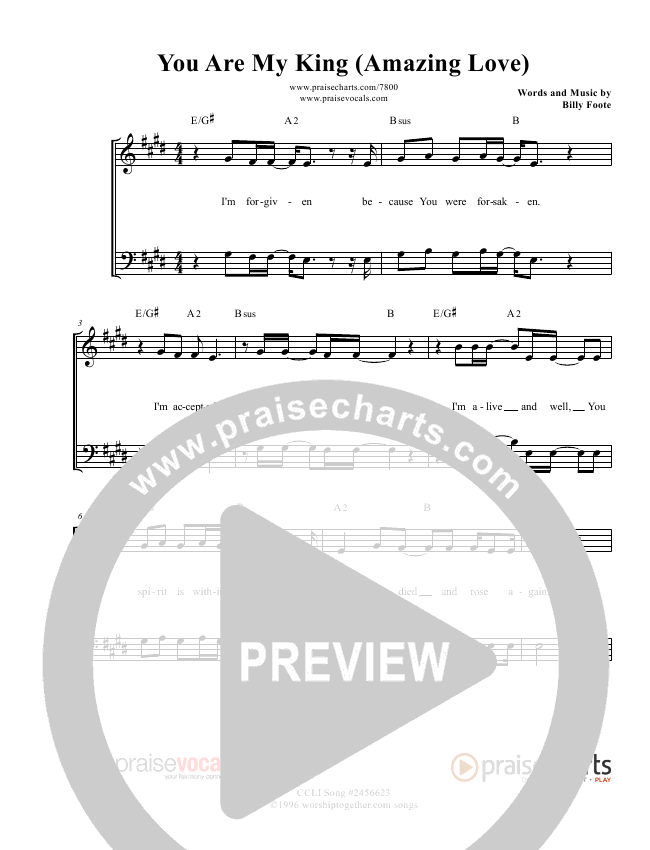 You Are My King (Amazing Love) Lead Sheet (PraiseVocals)