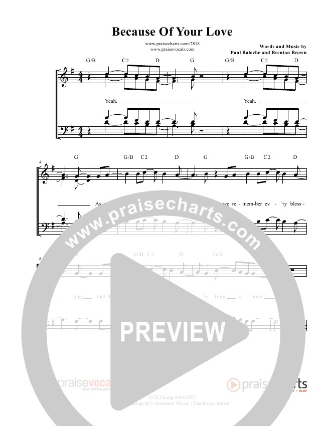 Because Of Your Love Lead Sheet (PraiseVocals)